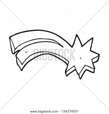 freehand drawn black and white cartoon decorative shooting star