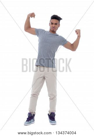 Portrait of a young african american man showing off his biceps. Isolated image on white background.