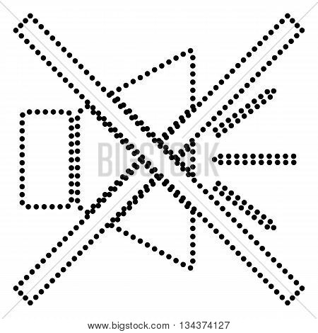 Sound sign illustration with mute mark. Dot style or bullet style icon on white.