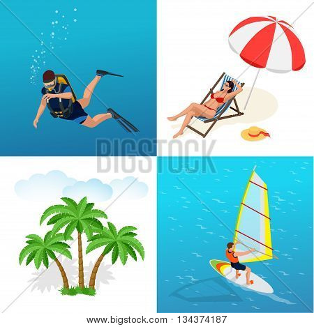 Beach icon set. Girl in a swimsuit on a deck chair, Scuba diver, sun umbrella, palm, Windsurfer on a board for windsurfing. Flat 3d vector isometric illustration