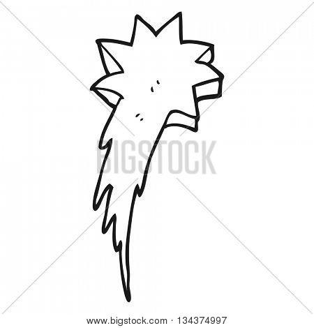 freehand drawn black and white cartoon shooting star symbol