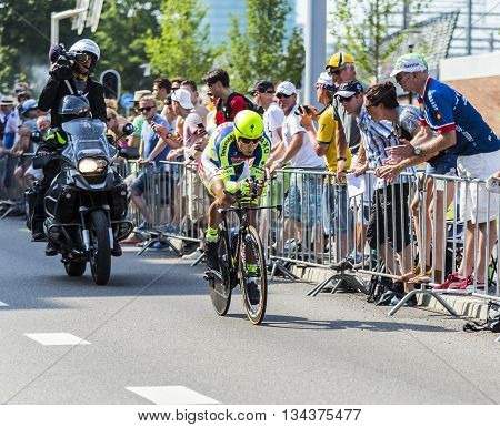 Utrecht,Netherlands - 04 July 2015: The Slovak cyclist Peter Sagan of Tinkoff-Saxo Team riding during the first stage (individual time trial ) of Le Tour de France 2015 in UtrechtNetherlands on 04 July 2015.