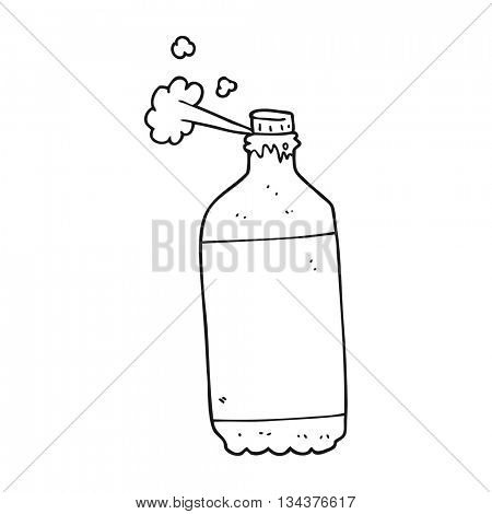 freehand drawn black and white cartoon fizzing cola