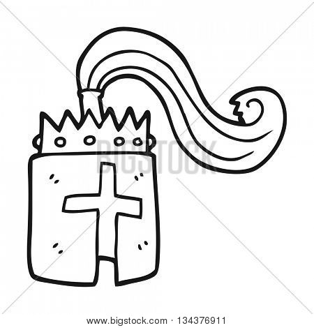 freehand drawn black and white cartoon king's helmet