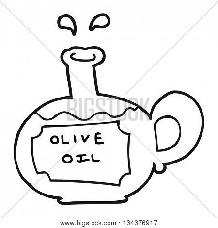 freehand drawn black and white cartoon olive oil