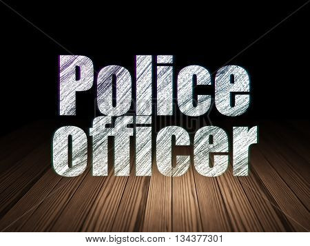 Law concept: Glowing text Police Officer in grunge dark room with Wooden Floor, black background