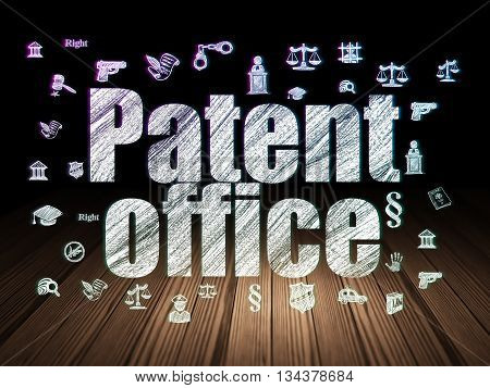 Law concept: Glowing text Patent Office,  Hand Drawn Law Icons in grunge dark room with Wooden Floor, black background