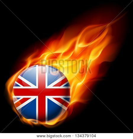 Flag of Great Britain as round glossy icon burning in flame