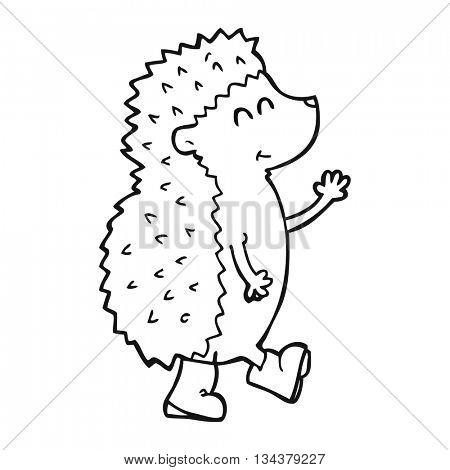 cute freehand drawn black and white cartoon hedgehog