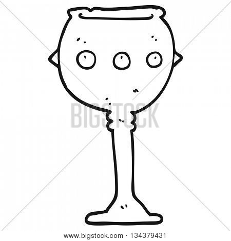 freehand drawn black and white cartoon goblet