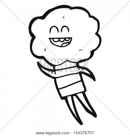 freehand drawn black and white cartoon cute cloud head creature