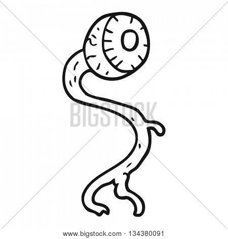 gross freehand drawn black and white cartoon eyeball