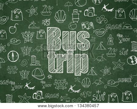 Tourism concept: Chalk White text Bus Trip on School board background with  Hand Drawn Vacation Icons, School Board