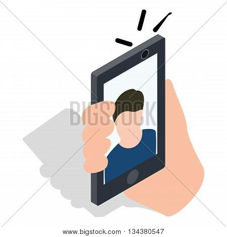 Man taking selfie photo on smartphone icon in isometric 3d style on a white background