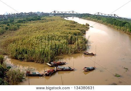 HA NOI, VIET NAM, May 14, 2016 boats, mooring, on the Hong River, the city of Ha Noi, Vietnam