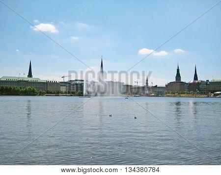 Hamburg Germany - view over the Binnenalster