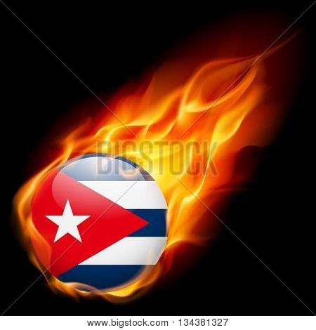 Flag of Cuba as round glossy icon burning in flame