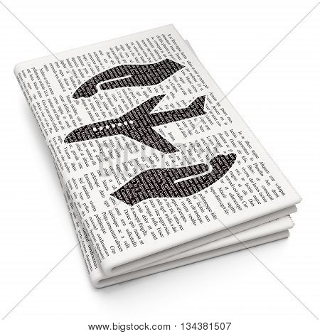 Insurance concept: Pixelated black Airplane And Palm icon on Newspaper background, 3D rendering