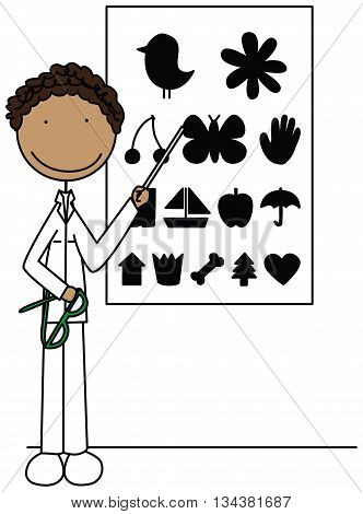 Cartoon illustration of an ophthalmologist holding glasses