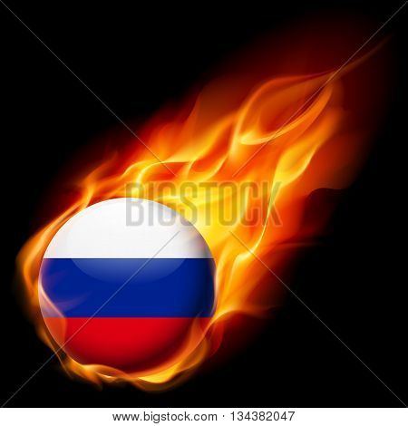 Flag of Russian Federation as round glossy icon burning in flame