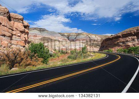 Highway At Capitol Reef National Park, Utah,  Usa