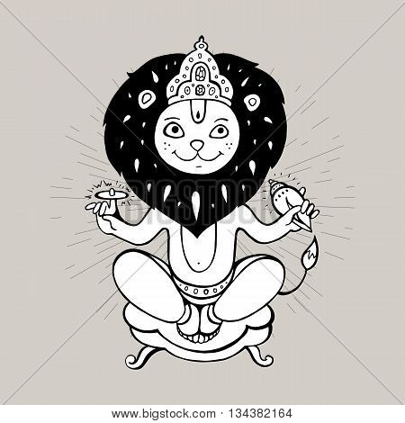 Hindu God Narasimha, Vector hand drawn illustration