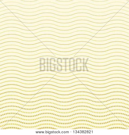 Geometric modern vector pattern. Fine ornament with wavy dotted lines. Golden pattern