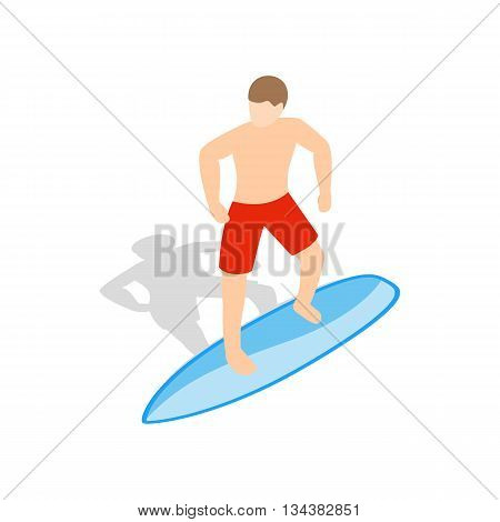 Surfer man on surfboard icon in isometric 3d style on a white background