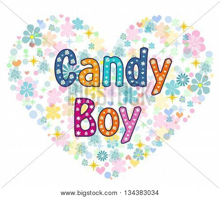candy boy greeting card. Stock vector illustration