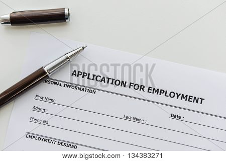 Application form to applying for a job