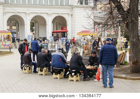 Kislovodsk, Russia - 28 February, People playing backgammon, 28 February, 2016. Resort zone Mineral Waters, Krasnodar region.