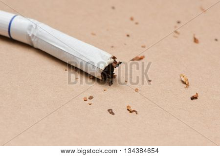 Used cigarette nicotine in cigarette on the brown background