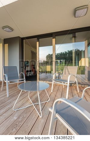Luxurious house with new patio simple patio furniture set