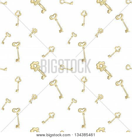 Seamless keys pattern. Gold vintage keys on white background