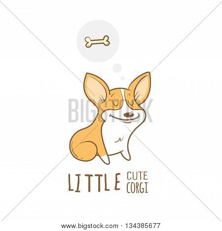 Card with cute cartoon dog breed Welsh Corgi Pembroke and bone. Children's illustration. Little puppy. Funny baby animal. Vector image.