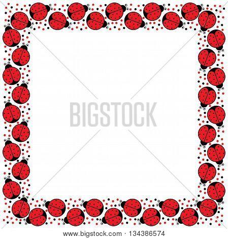 Decorative illustrated square frame made of cartoon ladybugs