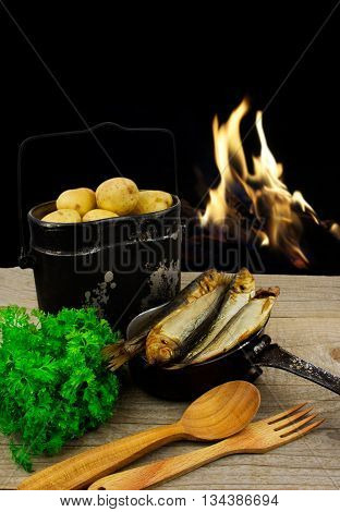 cooking on the fire of hiking products. Food Outdoors. Organic products.