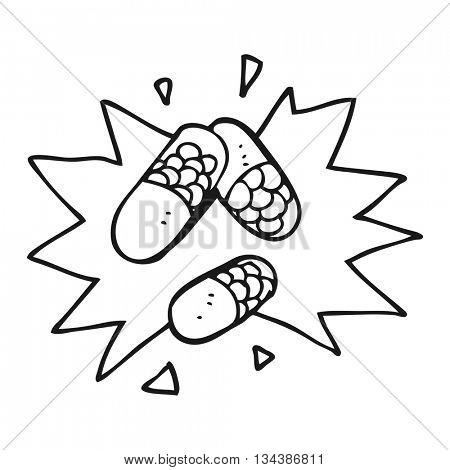 freehand drawn black and white cartoon medical pills