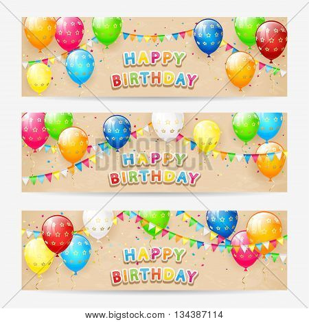 Happy Birthday cards, Birthday cards with colorful balloons, multicolored confetti, holiday pennants and the inscription Happy Birthday, on grunge beige background, illustration.