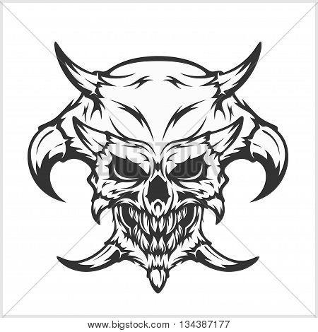 Horned skull for tattoo - isolated on white
