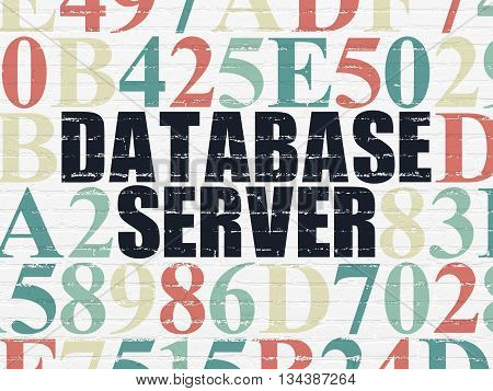 Database concept: Painted black text Database Server on White Brick wall background with Hexadecimal Code