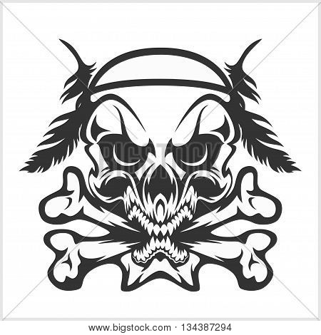 Skull Native American and crossbones - a mark of the danger warning