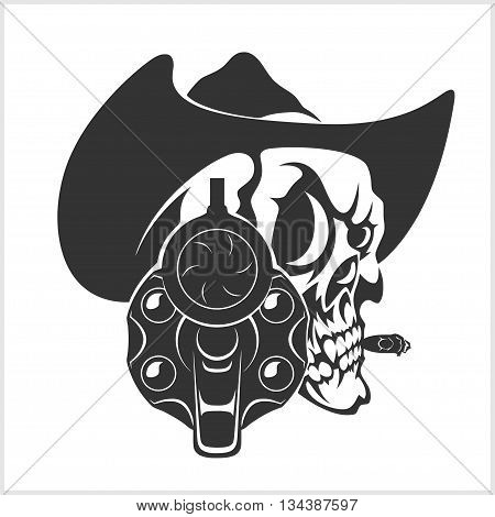 Skull In Cowboy Hat And Gun - isolated on white