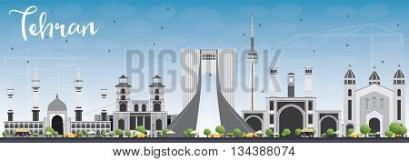Tehran Skyline with Gray Landmarks and Blue Sky. Business Travel and Tourism Concept with Historic Buildings. Image for Presentation Banner Placard and Web Site.