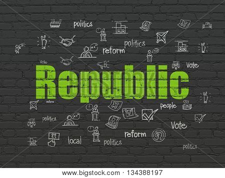 Politics concept: Painted green text Republic on Black Brick wall background with  Hand Drawn Politics Icons