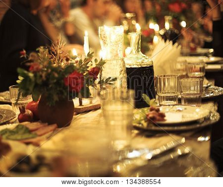 Abstract image of a celebratory table. Blurred background