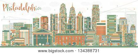 Abstract Philadelphia Skyline with Color Buildings. Business Travel and Tourism Concept with Philadelphia City. Image for Presentation Banner Placard and Web Site.