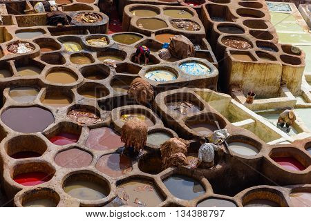 FES MOROCCO - OCTOBER 27 2015: the tanneries in the old medina of Fes after the recent works of restoration