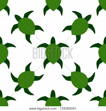 Vector illustration of sea turtles. Marine seamless pattern. A beautiful colorful background for your design of postcards, textiles, wallpaper.