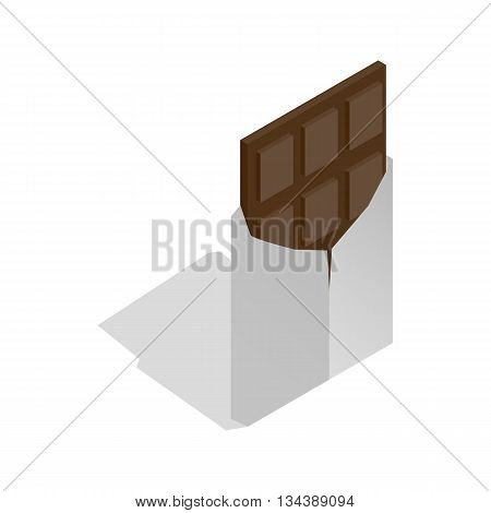 Dark chocolate icon in isometric 3d style on a white background